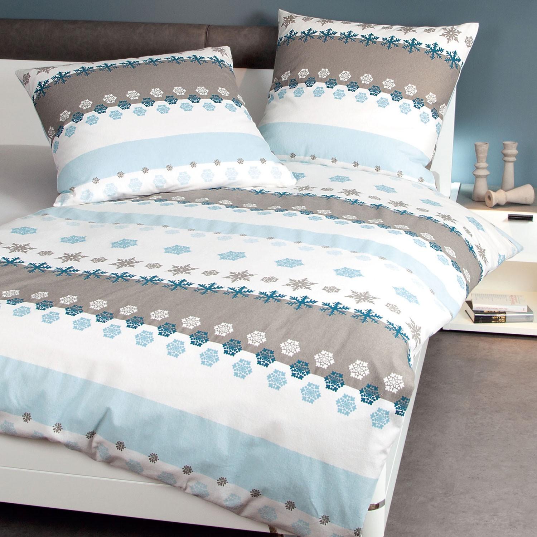 Bettwasche Janine Davos 6491 Winterblau Taupe