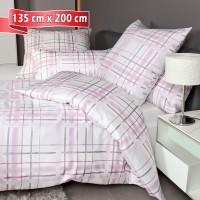 Bettwäsche Janine Carmen 53079 rosa grau 135 cm x 200 cm