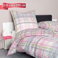 Bettwäsche Janine moments 98039 rosa silber grün 135 cm x 200 cm