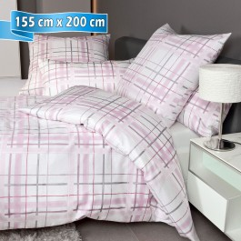 Bettwäsche Janine Carmen 53079 rosa grau 155 cm x 200 cm