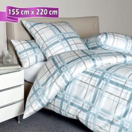 Bettwäsche Janine Messina 43079 aquarellblau grau 155 cm x 220 cm