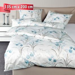 Bettwäsche Janine Messina 43080 blau taupe 135 cm x 200 cm