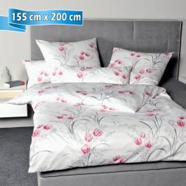 Bettwäsche Janine Messina 43080 rosa grau 155 cm x 200 cm