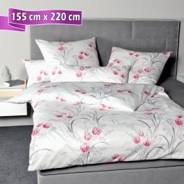 Bettwäsche Janine Messina 43080 rosa grau 155 cm x 220 cm