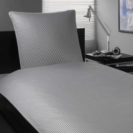 Bettwäsche Elegante Hamburger Streifen 2460 grau-weiß